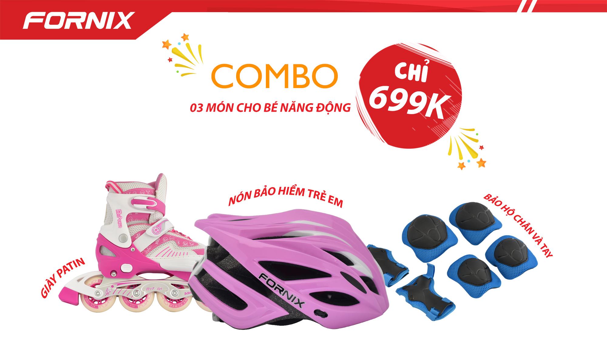 Giá bán COMBO THỂ THAO TRẺ EM - Nón bảo hiểm A02NX1 + Giày Patin + Đồ bảo hộ