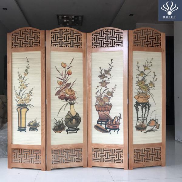 [Xả Kho Giá Sốc] Bức bình phong gỗ tự nhiên Hàng Cao Cấp nặng 20kg tranh phong thủy, tứ bình, tứ quý