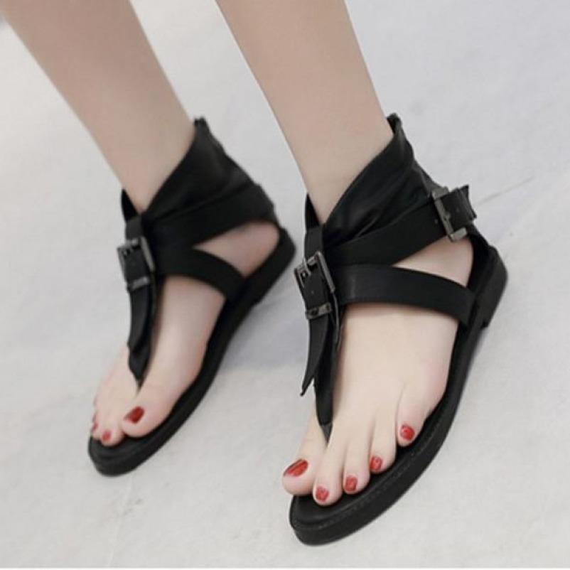 (Bảo hành 12 tháng) Giày sandal nữ đế bệt quai kẹp phối khóa vuông - Giày nữ da mềm 2 màu Đen và Nâu bò- Elsa ES155 giá rẻ