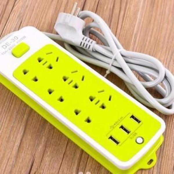 Ổ Cắm Điện - Ổ Điện Đa Năng 6 Phích Cắm 3 Cổng USB Sạc Điện Thoại Hàng Cao Cấp Dùng Siêu Bền - Giá Siêu Rẻ