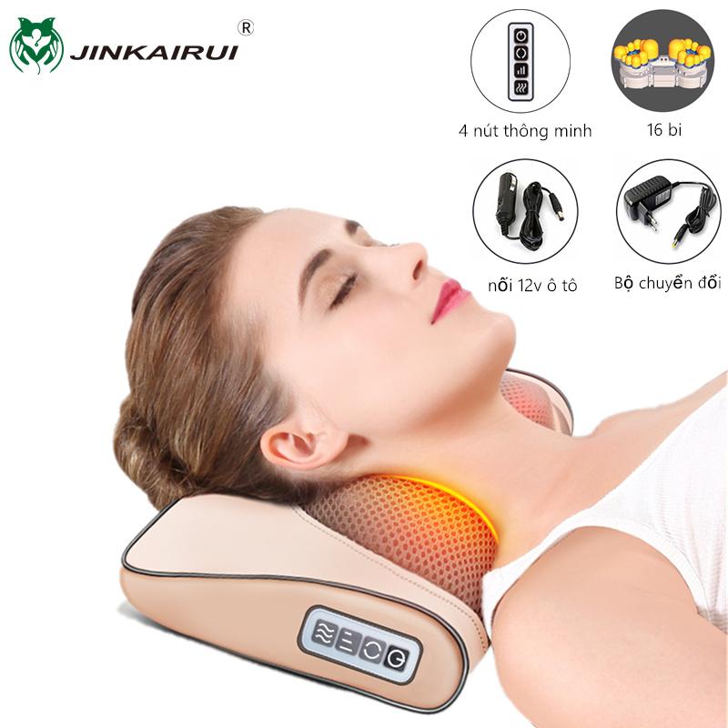 Jinkairui Gối massage Mát xa cổ Hồng Ngoại 8 Bi (Mỗi bên) Gối Massage Toàn Thân Tặng đầu nối 12v ô tô