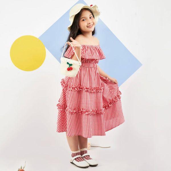 Giá bán Váy đầm caro cho bé gái đẹp xinh, cao cấp Econice V1-6. Size trẻ em 5, 6, 7, 8, 9, 10, 12 tuổi