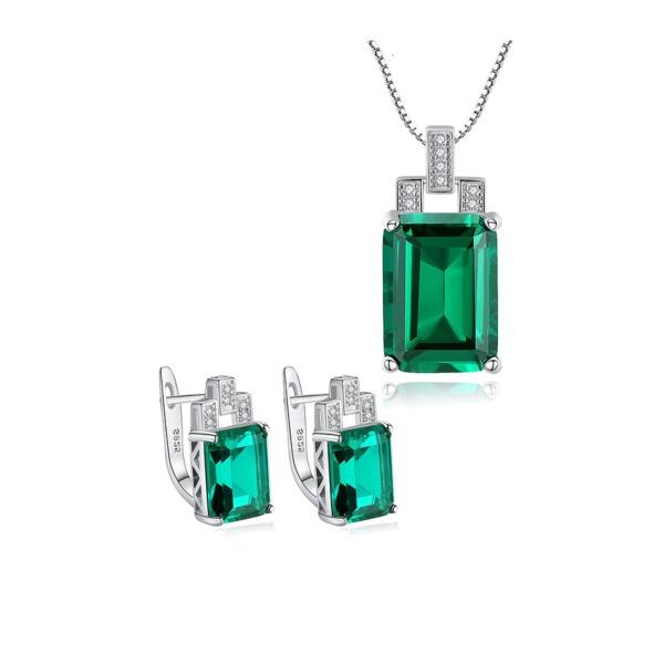 Bộ Trang Sức Bạc Nữ S925 Trang Sức Ngọc Lục Bảo BNT-608 cao cấp Bảo Ngọc Jewelry