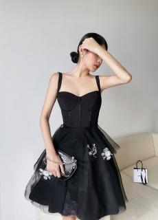 MAVEN - Váy hai dây lưới xoè tầng đính kết trang trí Swanse thumbnail