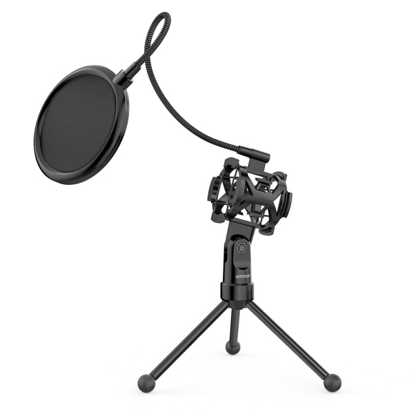 okoogee ammoon Mini Desktop Microphone Tripod Stand with Shock Mount Mic Holder Pop Filter for Studio Recording Online Broadcasting Chatting Singing Meeting Malaysia