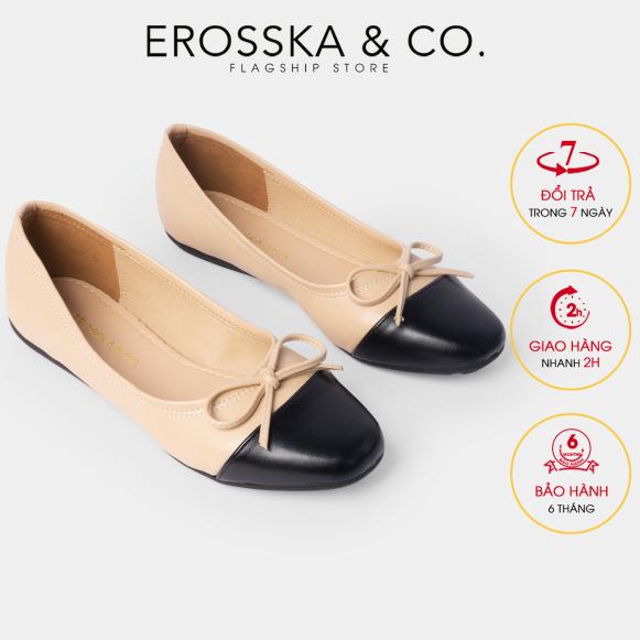 Giày bệt đế bằng thời trang Erosska kiểu dáng Hàn Quốc đế cao su da mềm đính nơ ef011 (NU) giá rẻ