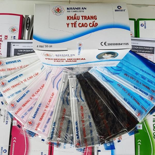 [ Free ship đơn 49K ] Hộp 50 cái khẩu trang y tế chính hãng KHÁNH AN tiệt trùng 50 bịch riêng, 50Pcs medical face mask 4 layers