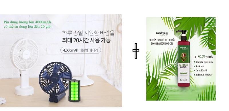 ( TẶNG GELL RỬA TAY 500ML)Quạt cầm tay lớn Bluewind thương hiệu Hàn Quốc 7Story
