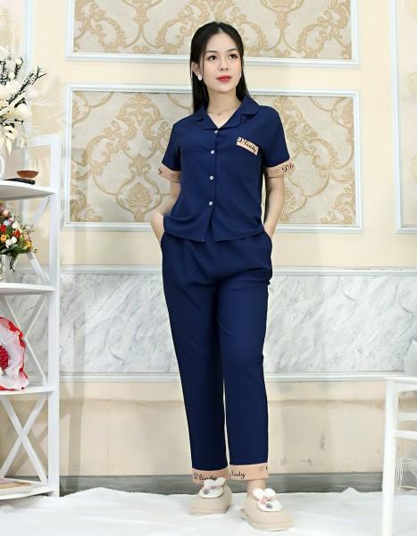 Bộ đồ bộ Pijama màu XANH ĐEN tay ngắn quần dài lụa Pháp - Thoải Mái Nhẹ Nhàng