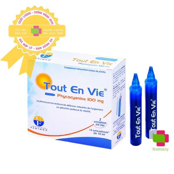 Tảo biển Tout En Vie, Pháp (14 ống dạng nước) kèm vitamin C giúp chăm sóc da, tốt cho huyết áp, tim mạch, tiểu đường nhập khẩu