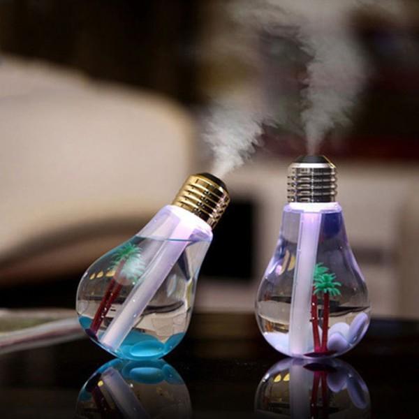 Đèn xông tinh dầu phun sương hình bóng đèn, Máy Phun Sương Xông Tinh Dầu Tạo Độ Ẩm Đổi Màu Tự Động Đẹp- Máy Phun Sương Xông Tinh Dầu Đèn Led 7 Màu- Giúp Bớt Căng Thẳng- Mệt Mỏi- Dung Tích:400ml- Phun 6 Tiếng-Công Suất 2W giá rẻ