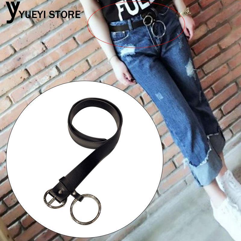 Belts Convenient Elegant Leather Belt Women Dress Belts Ring Belt Leather Black Round Buckle Pants Clothing Dress Waist