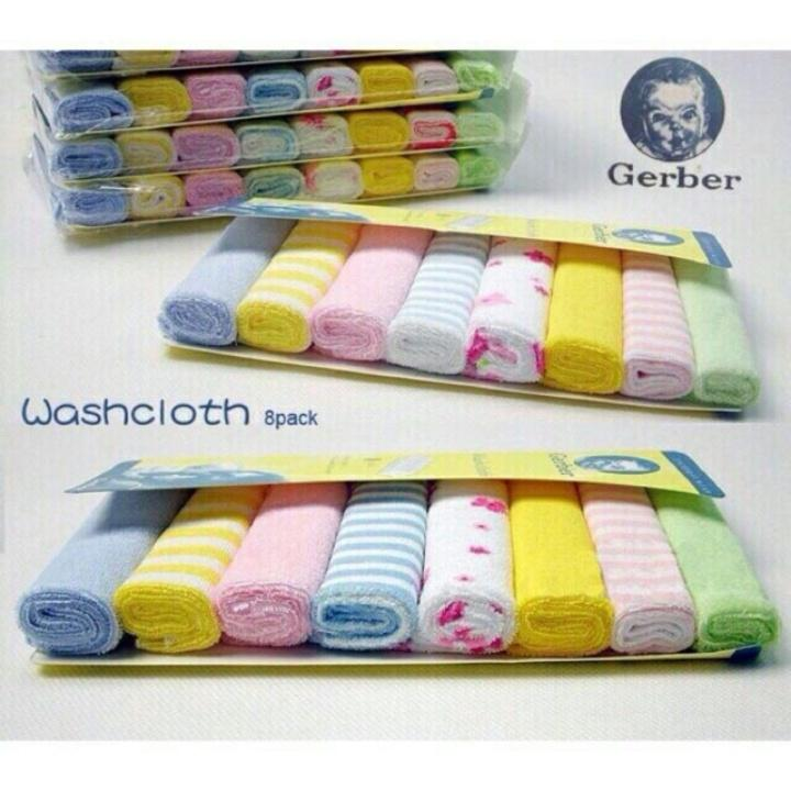Set khăn mặt Gerber 8 chiếc, khăn đa năng