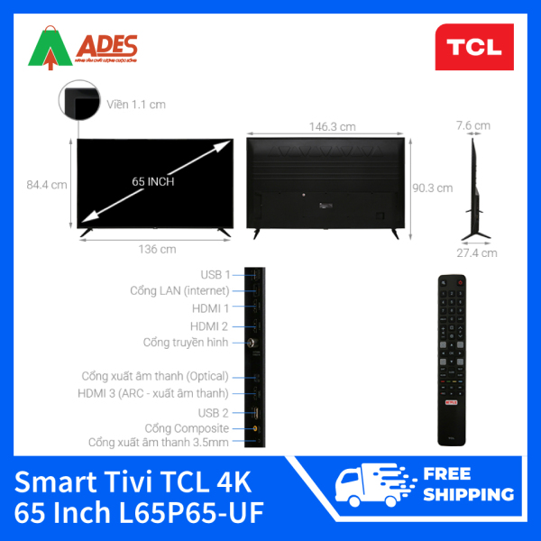 Bảng giá Smart Tivi TCL 4K 65 Inch L65P65-UF