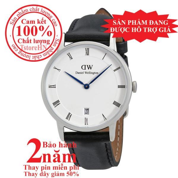 Đồng hồ nữ D.W Dapper Sheffield 34mm - Màu Bạc (Silver), mặt trắng (White), dây da đen, DW00100096