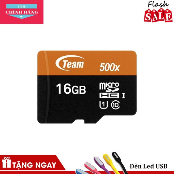 Thẻ nhớ 16GB microSDHC Team 80MB/s 500x C10 U1 Adapter (Đen cam) tặng Cáp micro USB tròn Romoss - Bảo Hành 3 Năm