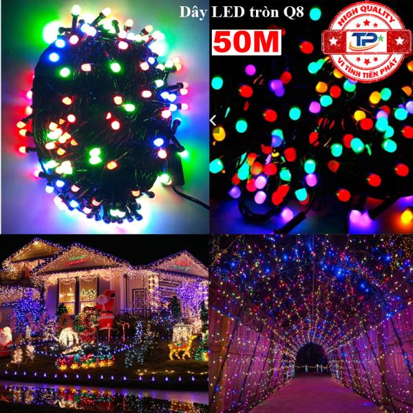 Bảng giá Dây đèn Led tròn Q8 dài 50m nhấp nháy nhiều màu dùng trang trí Sân Vườn, Gia Đình, Quán, Noel, ... Chúc Mừng Năm Mới quà Tết 2021