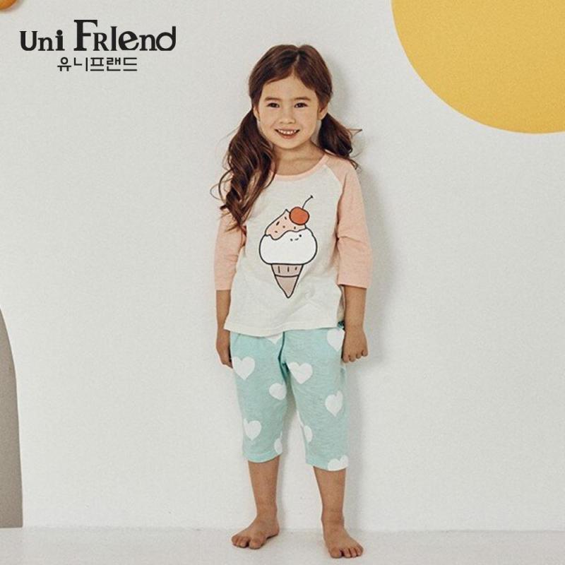 Nơi bán Đồ bộ mặc nhà bé gái Unifriend thun lửng hoạ tiết cây kem U9SSTL33