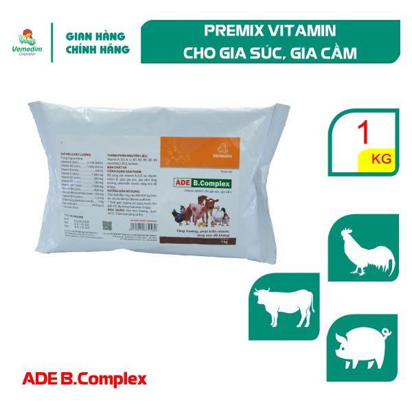 Vemedim ADE B complex Bổ sung vitamin A,D,E và vitamin nhóm B tăng đề kháng cho gia súc, gia cầm, gói 1kg