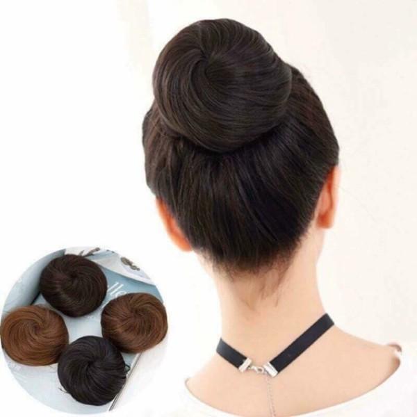 Tóc giả búi tròn 🎁 FREESHIP 🎁 Tóc búi tròn sợi tóc óng mềm mượt giống tóc -có nhiều màu để chọn cao cấp