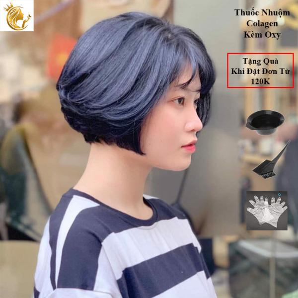 Thuốc Nhuộm Tóc Collagen Màu Xanh Blu Kèm Oxy cao cấp