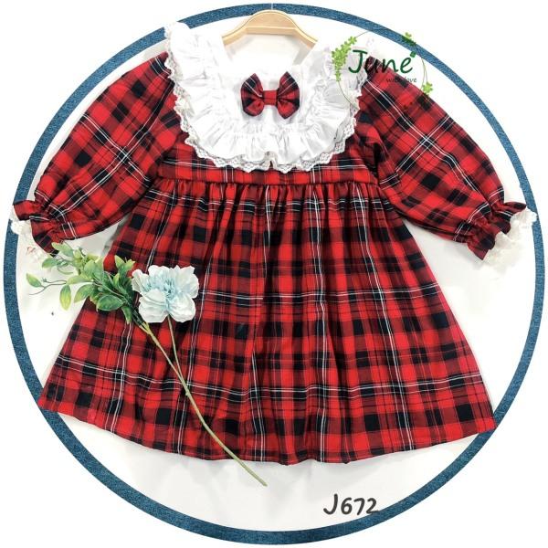 Giá bán Đầm Bé Gái Phối Cổ Bèo Pha Ren Xinh Xắn, Váy Bé Gái Mùa Noel Tết Dễ Thương