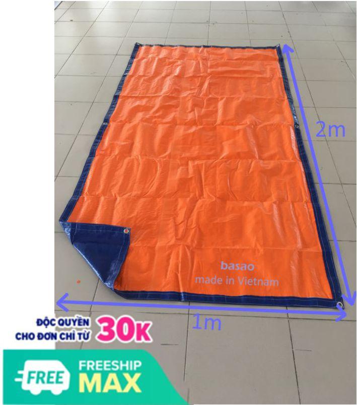 Tấm bạt may sẵn, diện tích 2m², màu xanh - cam, lựa chọn 2 kích thước theo màu đại diện