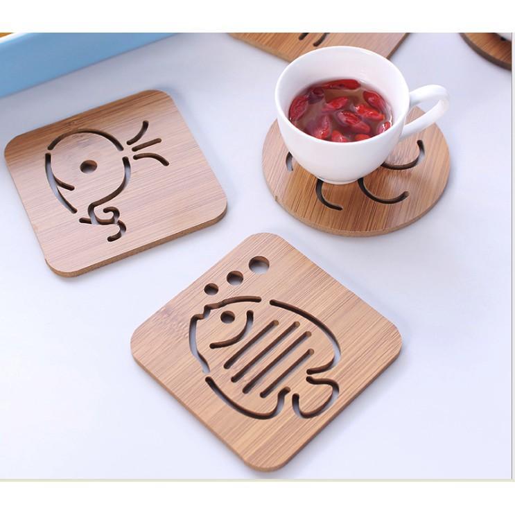 [Combo 10] Miếng Lót bằng gỗ cách nhiệt -Ngẫu nhiên họa tiết