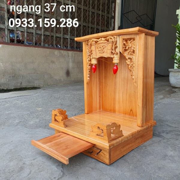 Bảng giá Bàn thờ thần tài ông địa, bàn thờ gỗ xoan, màu gỗ tự nhiên, kích thước 38cm x 55cm x 38cm