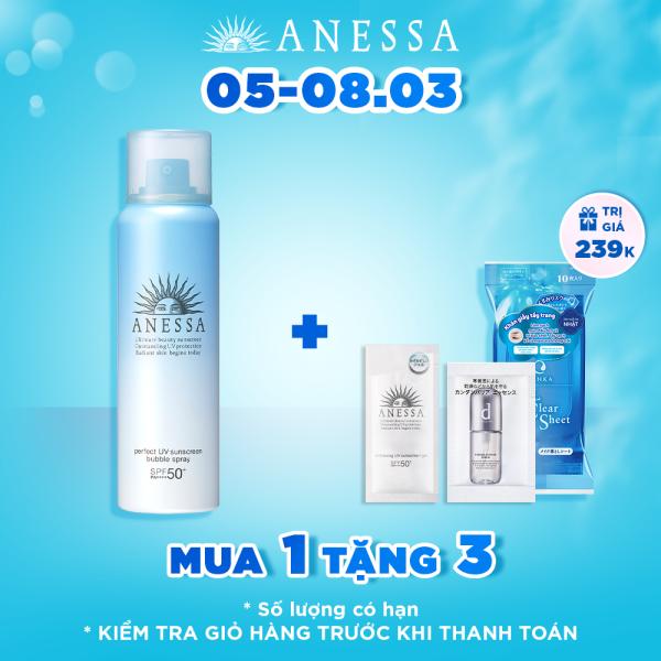 Xịt chống nắng bảo vệ hoàn hảo toàn thân dạng bọt ANESSA Perfect UV Sunscreen Bubble Spray SPF 50+ PA++++ 60g