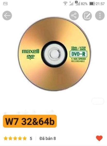 Bảng giá DVD cài W7 32 và 64b trong 1 đĩa tự activer Phong Vũ