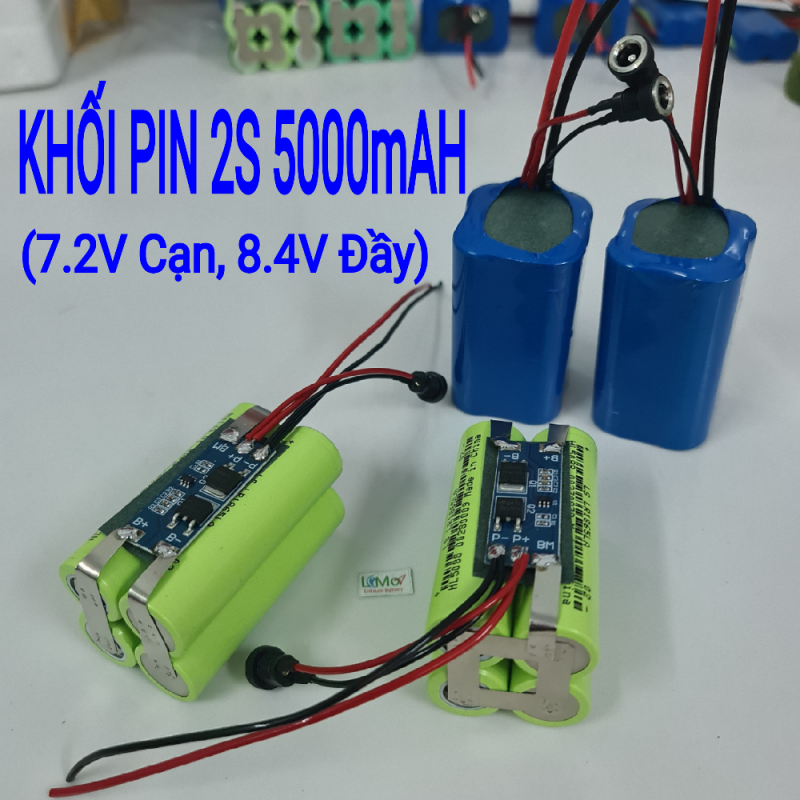 Khối pin 2S 7,2V 5000mAH - 20A. (7,2V Cạn - 8,4V Đầy). Được đóng từ 4 cell pin Lithium 18650 Mới Và Có mạch bảo vệ 2S cực bền - LIMO