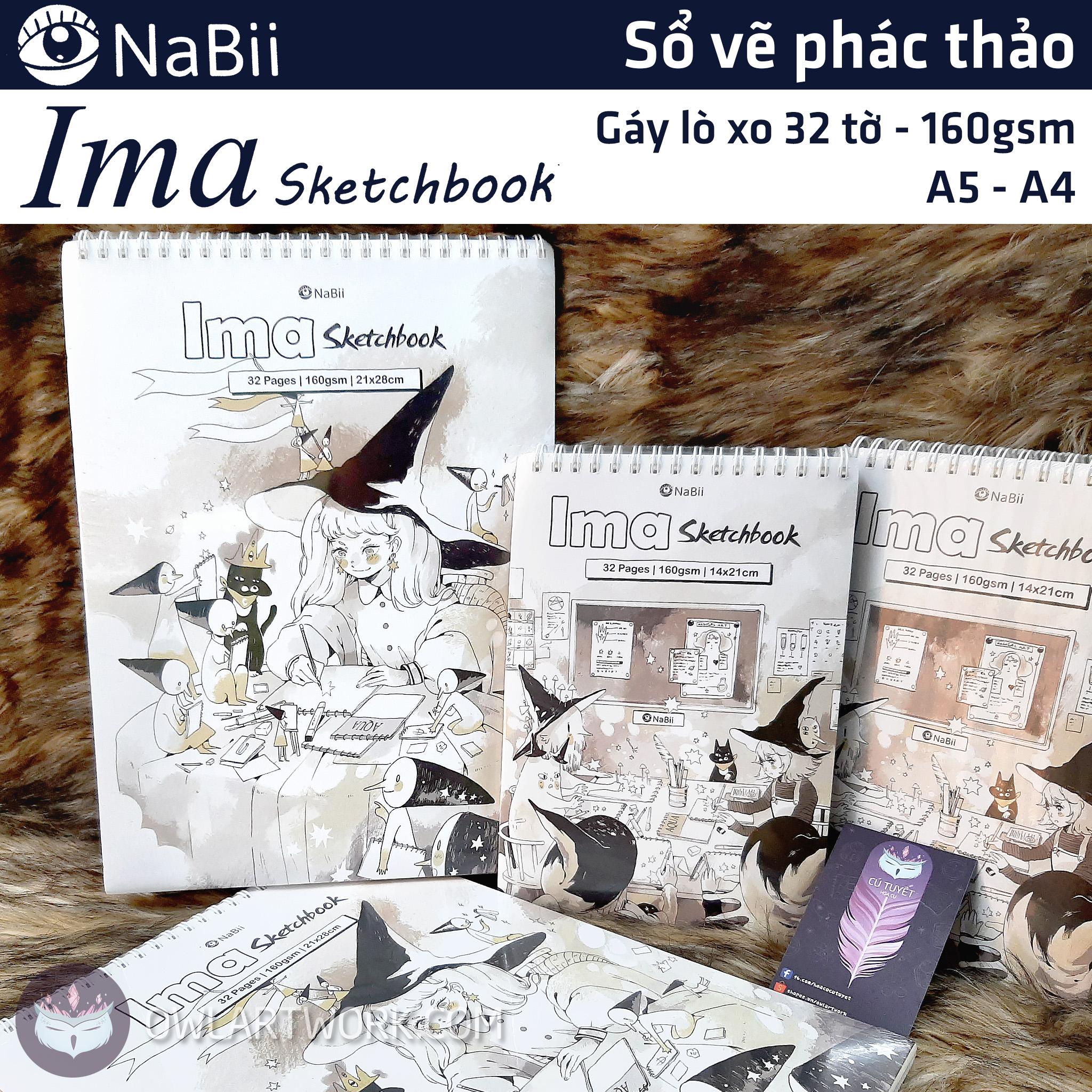 Sổ vẽ phác thảo giấy NaBii Ima Sketchbook 160gsm 32 tờ giấy chịu nước tốt thiết kế dạng xoắn gáy tiện lợn