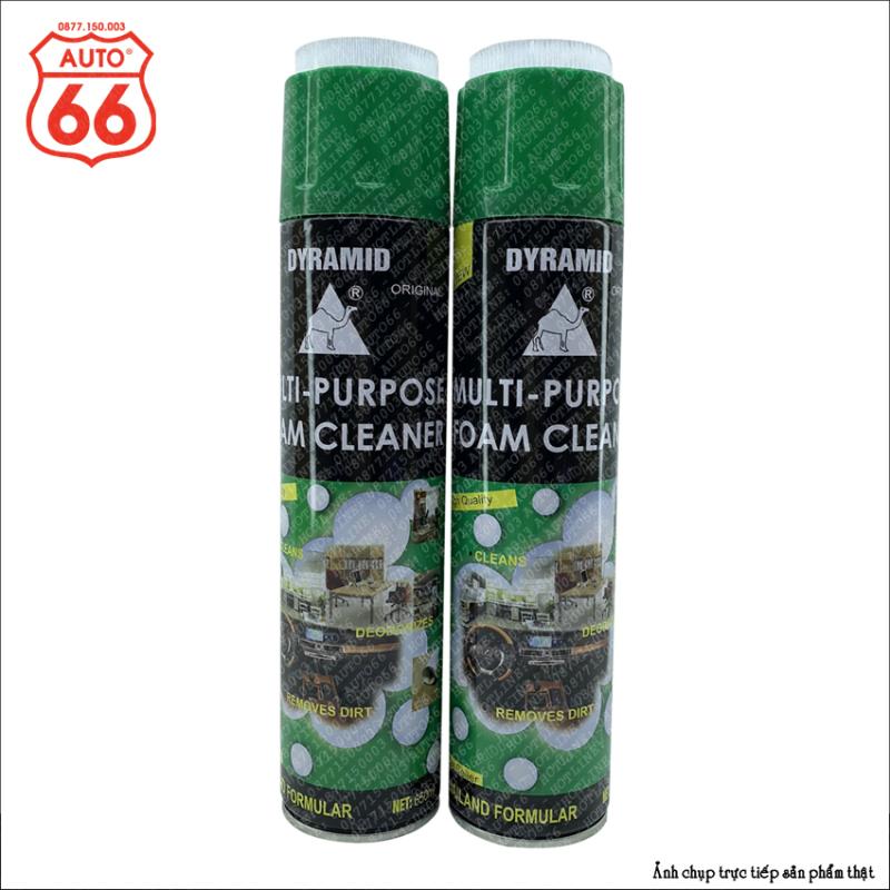 Xịt bọt đa năng Dyramid vệ sinh nội thất ô tô - đồ da - đồ nhựa, Foam Cleaner chai màu xanh hương bạc hà thơm mát, dung tích 650ml, có nắp bàn chải tiện lợi.