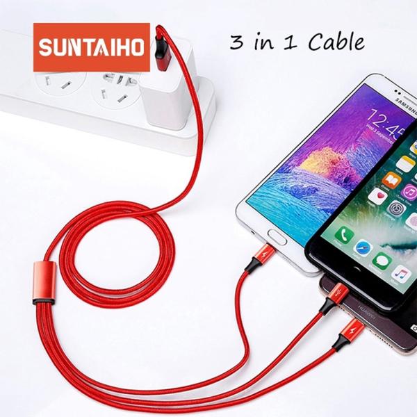 Cáp Sạc 3 trong 1 Micro USB Type C cho Huawei Xiaomi iPhone