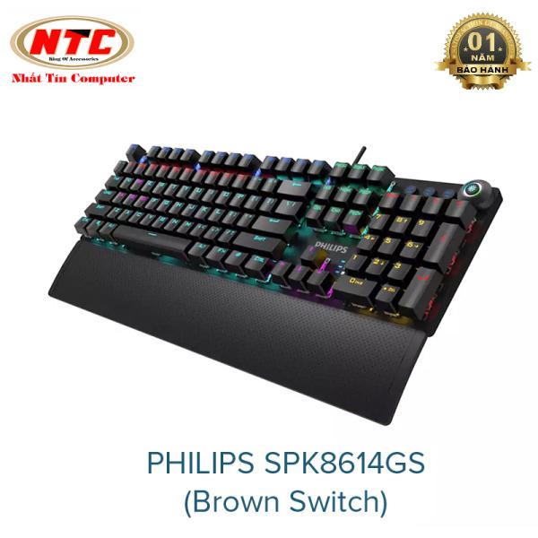 Bảng giá [HCM]Bàn phím cơ Brown Switch PHILIPS SPK8614GS tích hợp 20 kiểu led và 3 cụm led game - thiết kế nút vặn hiện đại (Đen) - Phụ Kiện 1986 Phong Vũ