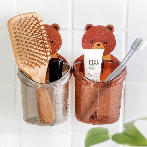 Cốc gấu dán tường siêu dính, cốc đựng bàn chải hình gấu dễ thương, cốc đựng bàn chải kem đánh răng, giá treo cốc đựng vật dụng cá nhân hình gấu dán tường nhà tắm, Huy Linh