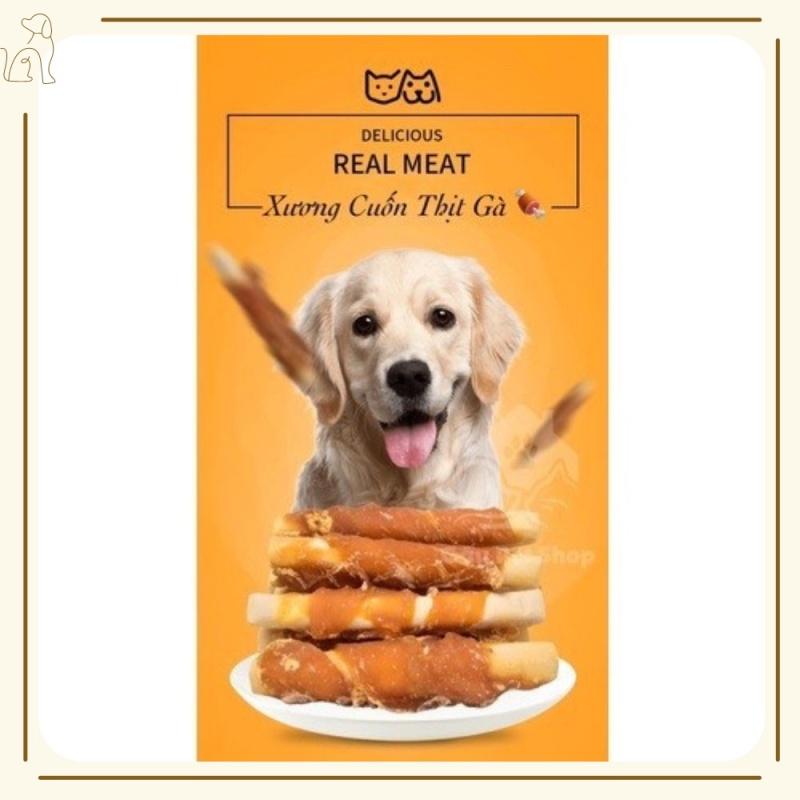 [ 100gr ] Xương Sữa Cuộn Thịt Gà ( bánh THƯỞNG xương thưởng dành cho cún size nhỏ và vừa ) - JUNE PET SHOP