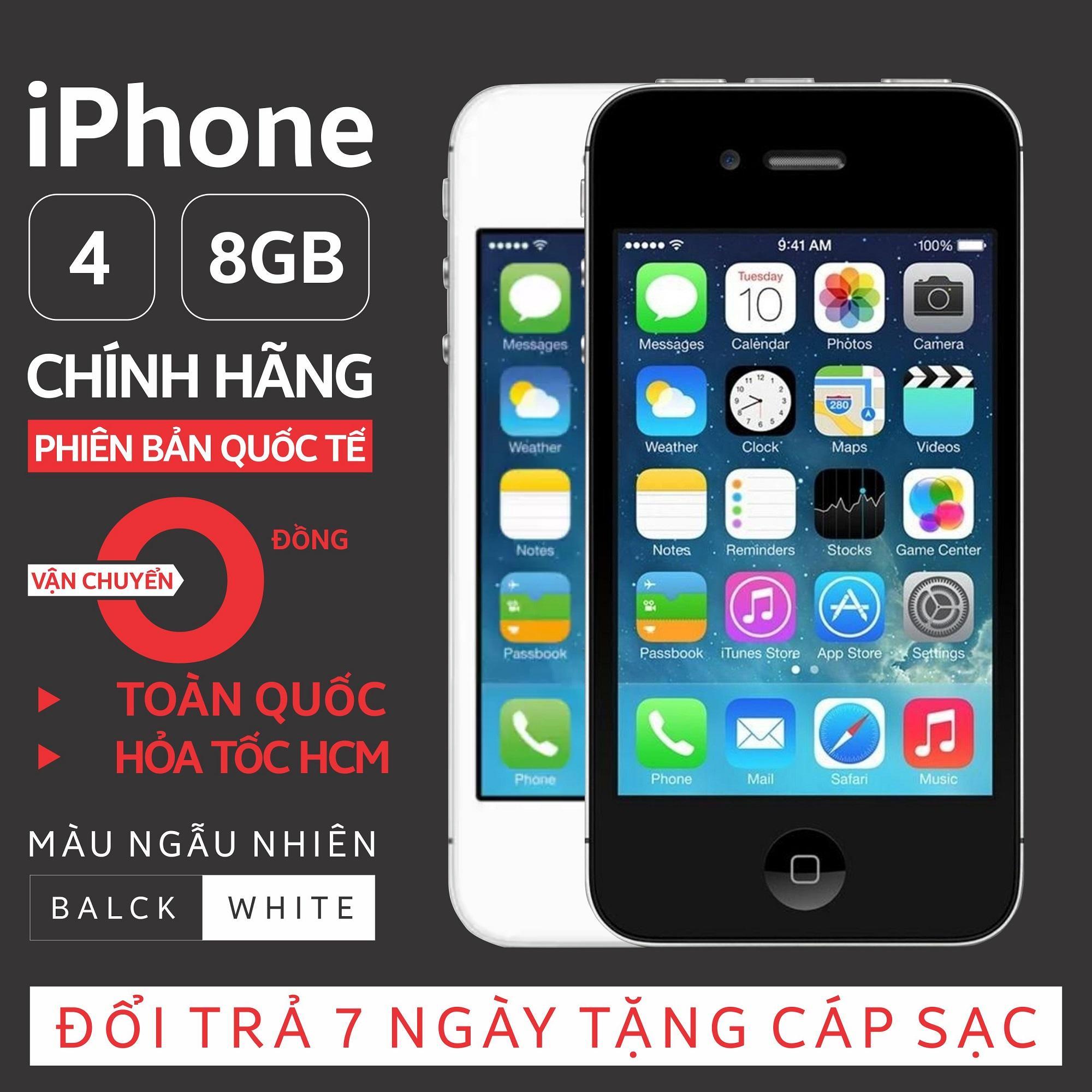 Điện thoại IPHON4 - 8GB giá rẻ - Phiên bản quốc tế - Everything store - Bao đổi trả (Màu ngẫu nhiên trắng/đen) - Tặng cáp sạc