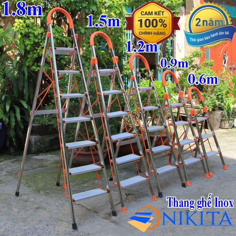 Thang nhôm ghế Inox 3 bậc, 4 bậc, 5 bậc, 6 bậc, 7 bậc Nikita Mã sản phẩm: IN03, IN04, IN05, IN06, IN07 tải trọng 150kg