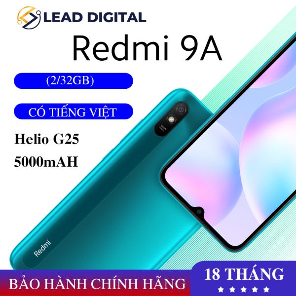 GIÁ TỐT MỖI NGÀY - [CHÍNH HÃNG] Điện thoại Xiaomi Redmi 9A 2GB/32GB - FULL TIẾNG VIỆT - Chip MediaTek Helio G25 8 nhân (12 nm), Màn hình 6.53 HD+, Camera 13MP, Pin 5000 mAh, Cảm biến nhận diện khuôn mặt - BH 18 tháng