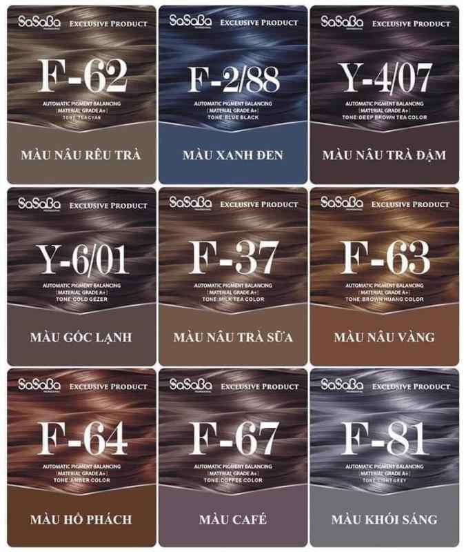 THUỐC NHUỘM PHỦ BẠC SASABA TỰ CÂN BẰNG NHIỀU KHÚC MÀU TÚI 450ML MẪU MỚI cao cấp