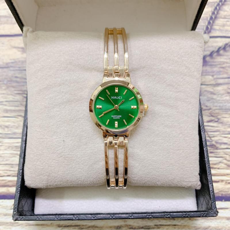 Đồng hồ nữ HALEI 5010 dây lắc thời trang ( HL5010 Dây vàng mặt vàng ) - TẶNG 1 vòng tỳ hưu phong thuỷ