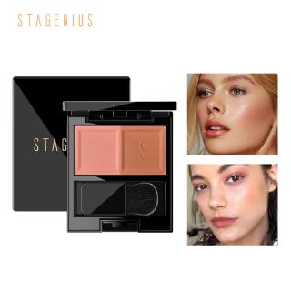 STAGENIUS Matte Blush Pressed Powder Brighten Face Blusher Contour Makeup With Brush thumbnail