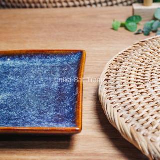 Khay Chữ Nhật Men Xanh Hoả Biến (size 12cm x15cm) - Gốm Sứ Cao cấp Bát Tràng thumbnail