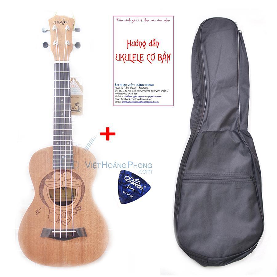 Đàn Ukulele Concert Music gỗ nguyên tấm tặng Bao đựng + Sách học +  Phím gảy - Việt Hoàng Phong