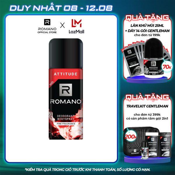 Xịt khử mùi toàn thân Romano Attitude 150ml nhập khẩu