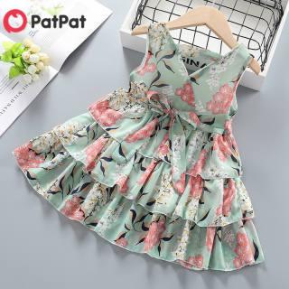 PatPat Em Bé/Bé Gái Cô Bé Xinh Xắn In Hoa Nhiều Lớp Váy Hoa Vest Đầm Voan Ba Tầng Váy 95% Chiffon, 5% PVC