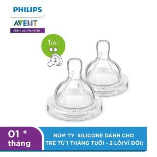 Núm ty Philips Avent Silicone dành cho trẻ từ 1 tháng tuổi - 2 lỗ(vỉ đôi) SCF632 27 thumbnail