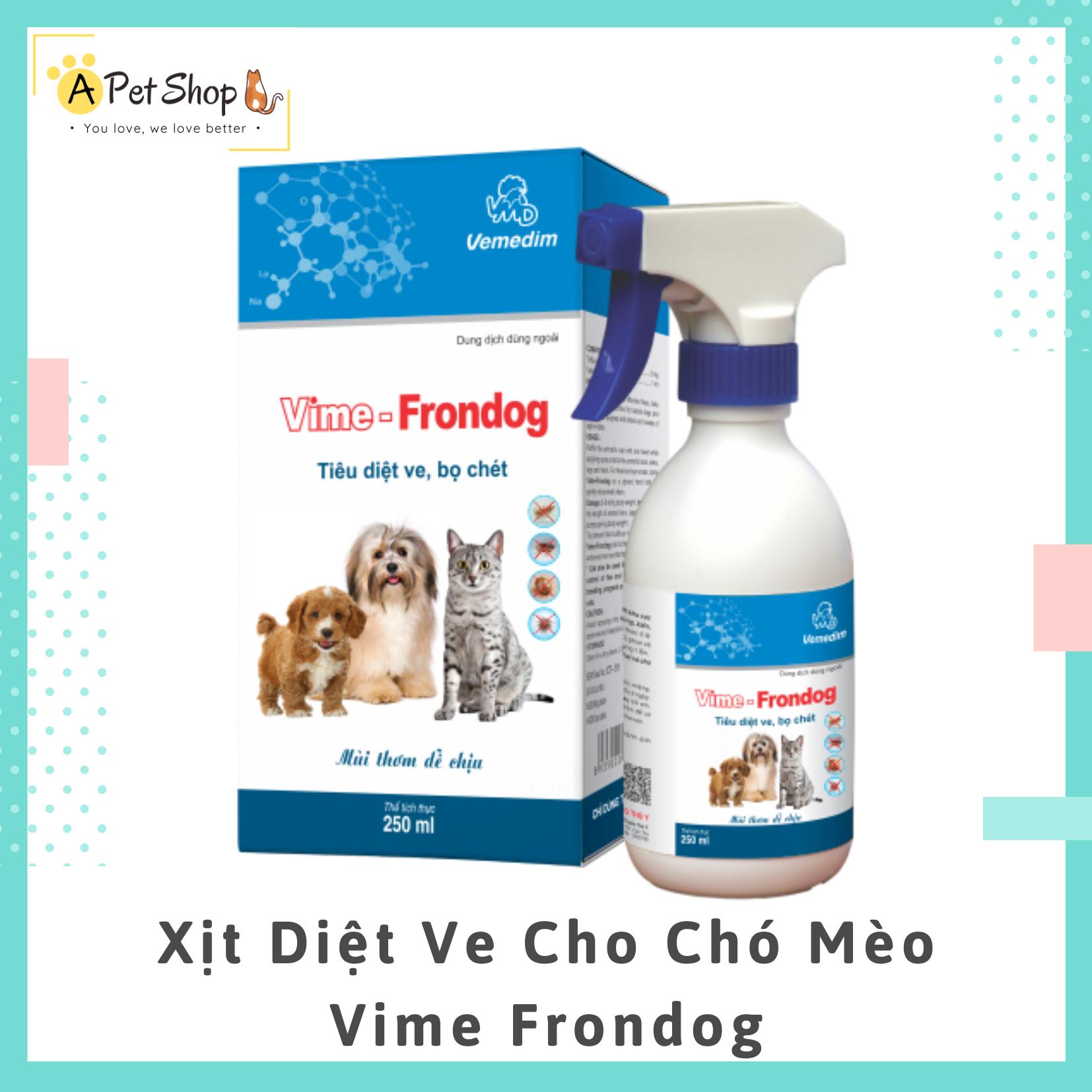 (Mẫu Mới 2020) Vime Frondog Tiêu Diệt Ve, Bọ Chét Ở Chó, Mèo Chai 250ml Với Giá Sốc
